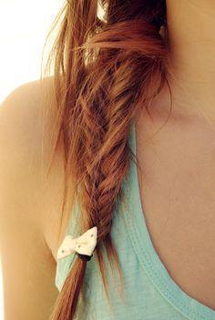 fishtail braid +ginger hair