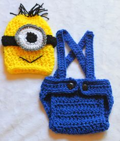 Baby Boy Crochet Despicable Me Outfit. For a Newborn.
