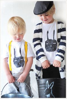 hand painted bunny face tshirts for Easter