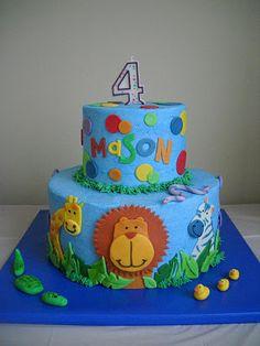 birthday parti, jungle animal cake, jungl parti, cake idea, jungl birthday, birthday idea, zoo animal birthday cake, animal cakes, jungle animals