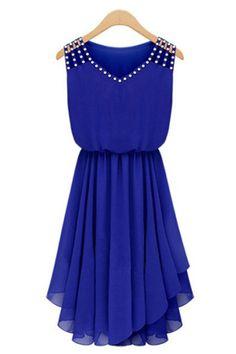 Blue Rhinestone Decor Irregular Casual Dress