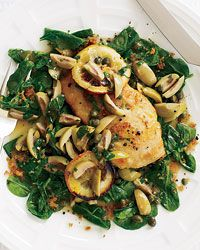 Sautéed Chicken with Olives, Capers and Roasted Lemons by Lidia Bastianich, foodandwine : Make it with skinless chicken breasts! #Chicken #Lemons #Olives #foodandwine #Lidia_Bastianich