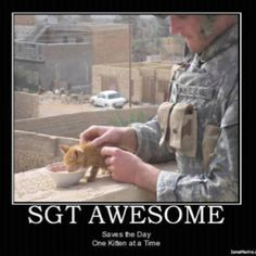 A weakness: men in uniforms with adorable furry animals. Fireman rescuing cat? Yes. Soldier feeding kitten? Also yes.
