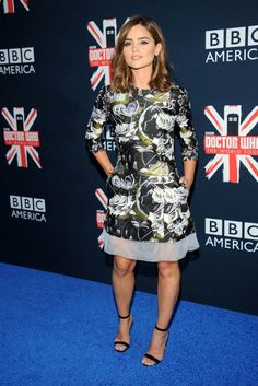 """At a """"Dr. Who"""" screening, Jenna Coleman wore a dark floral Christian Dior dress from the house's pre-fall collection. [Photo by Brad Barket/Getty Images]"""