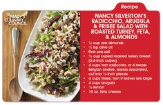 Prep your taste buds for a burst of flavor with Nancy Silverton's Radicchio, Arugula & Frisee Salad With Roasted Turkey, Feta, & Almonds, only on mBLOG