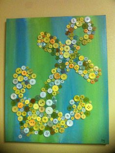 Anchor decoration made using canvas/paint/buttons!