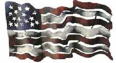 Free Form American Flag by iUnique Art. $74.95. Mix & Match with our other great pieces. Made in Mexico. Hand-Painted and Finished with Outdoor Quality Paints. Strong 22-Gauge Sheet Metal Construction. Hand-Cut with Plasma Torch. A wonderfully quaint rendition of our flag.  Dimensions: 20in x 11in x 6in Weight: 6 lbs Lead free metal Lead free paint Indoor/Outdoor use Hand crafted in Mexico