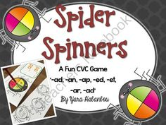 CVC Word Family Spider Spinners K-G1 from SeaofKnowledge on TeachersNotebook.com -  (35 pages)  - CVC Word Family Spider Spinners! This game is a great way to reinforce reading CVC words and fluency. The students will never know they are learning! There are several ways to use this game, it is als