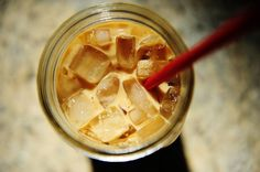 Iced Coffee recipe. Loooove iced coffee!  8 cups water per 4 oz (1 cup) ground coffee. Sit for 8 hours. Strain and liquid gold!