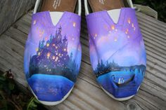 Fairytale Original Custom Acrylic Painting for Toms/Canvas Shoes TOMS NOT INCLUDED on Etsy, $100.00