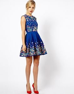 Image 4 of ASOS Skater Dress With Floral Embroidery $141.14