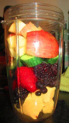 No lunch=JUICE INSTEAD! #nutribullet #Apple #Blueberries #Blackberries #Rasberries #Cucumber #Strawberries #Mango #nutriblast