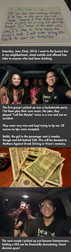 Man Offers To Drive Drunk People Home For Free