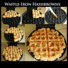 Waffle-Iron Hashbrowns – Food Recipes - For complete directions, scroll to directly below the second picture. food recipes, waffl iron, waffleiron hashbrown, breakfast, tater tots, waffles, potato, hash browns, waffle iron