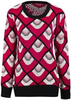 Diamond Patterned Knit Sweater