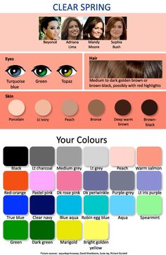 warm autumn, color palettes, clear spring, eye colors, spring colors, color pallets, color charts, colour palettes, brown hair