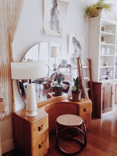 LOCAL PICKUP Vintage Heywood Wakefield Vanity with Dressing Mirror - 1940s, mcm, glam