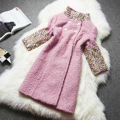 Pink Stand Collar Half Sleeve Rhinestone Woolen Coat