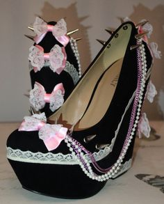 Pastel Goth Frilly Bow Stomper Wedges by KawaiiKinks on Etsy, £40.00