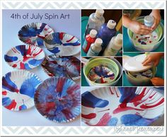 I knew someone would come up with a clever use for a salad spinner!  4th of July Spin Art