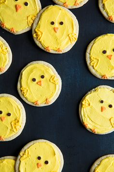 Chick Sugar Cookies with Lemon Frosting - great last minute Easter treat uses store bought sugar cookie dough.