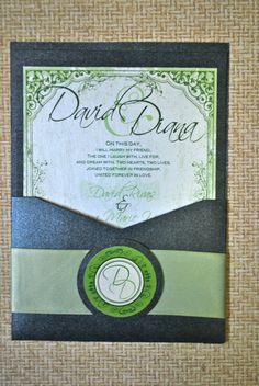Black and Green Wedding Invitation via Etsy