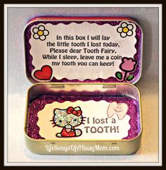 """TOOTH FAIRY: DIY Tooth Fairy Box.  Poem inside: """" In this box I will lay / the little tooth I lost today. / Please dear Tooth Fairy,  /  While I sleep, please leave me a coin  / My tooth you can keep!"""" //  Made with an Altoids tin."""