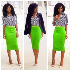 Jacket, stripes + Bold color pencil skirt - work wear