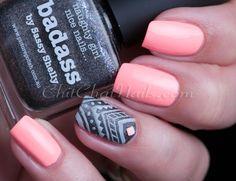 nails aztec, nail polish, aztec nail art, chitchatnail, nail art with neon colors, nail arts, nail art accent, neon peach nails