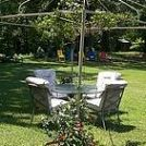 When the canvas wears out, simply plant floral vines at each corner of the frame to create a live canopy.