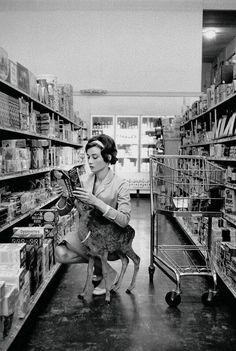 Audrey Hepburn shopping in Beverly Hills with her pet deer