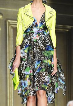 The Jungle Print  |  Leopard, Bird & Floral Prints Mix, with a touch of neon yellow.  Leopard Trend for Spring Summer 2013.  Philipp Plein Summer Summer 2013 #Fashion #Trend #Trends