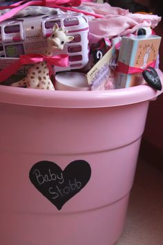 Baby shower gift in a tub (toy bin) - 15 things new moms really NEED