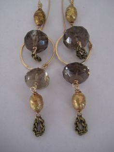 Smokey quartz tassel double drop earrings
