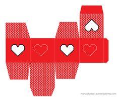 Caja imprimible San Valentín rojo