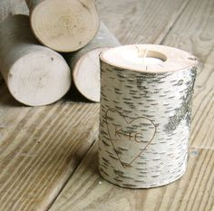 Birch tea light candle holder