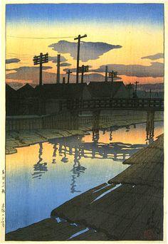 hanga gallery . . . torii gallery: Twilight at Kiba Lumber Yard by Kawase Hasui