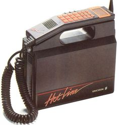 1988 - Ericsson Hotline:  Pure 80s brilliance, everything from the neon orange details down to the font. With a weight of 4kg this is exactly the type of phone that would have been used by executive types in the 80s. — Mobiles Through the Ages