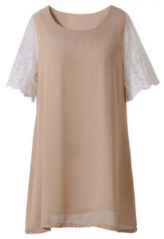 Lace Crochet Sleeve Chiffon Dress Top