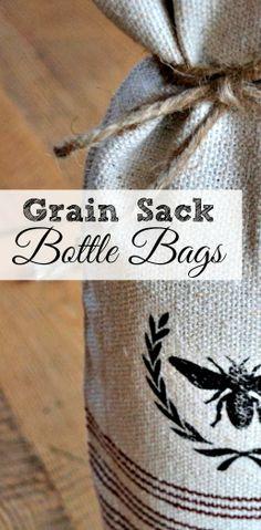 Grain Sack Wine Bottle Bags www.homeroad.net