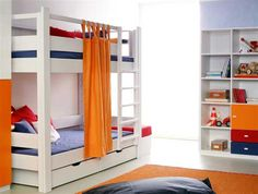 Orange Bunk Bed. What a smart idea of using the top bunk railing for a showercurtain rod to turn the bottom bunk into a fort!