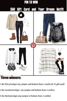Repin to win : how to enter:1. follow @romwe 2.pin romwe pinterest account pins(included the giveaway pin) to your board that the board has the most followers 3.send your board and repins links to romwe.pinterest@gmail.com.4.three winner will be chosen by random on 15th Oct.by the way, the more repins ,and the more chance to be the 1st winner~~~Good luck~~