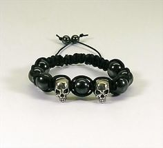 Macrame Bracelet Black with Skull Beads and Hematite Beads | HCLTreasures - Jewelry on ArtFire