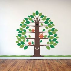 woodland Happy Tree is a removable vinyl wall decal designed for a modern baby nursery & kids room. The cute tree wall sticker comes with 3 owls