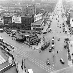 """Hipsterless Brooklyn: Vintage Photos From a Vanished World   LIFE.com. Photo: Ed Clark—Time & Life Pictures/Getty Images. From photographer's notes: """"Trolleys & tracks at corner of Flushing Ave., Graham & Broadway."""" Read more: http://life.time.com/culture/hipsterless-brooklyn-vintage-photos-from-a-vanished-world/#ixzz2dwbJlPH0"""