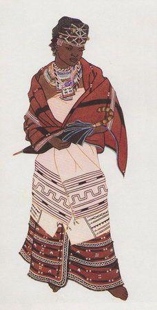 Barbara Tyrrell - Mfengu (Fingo) Woman - Man - Circa 1948    Adopting Xhosa Style dress