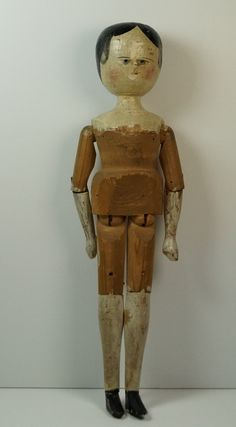 Antique Large Wooden Grodner Tal Doll Grodnertal Tuck Comb C 1860