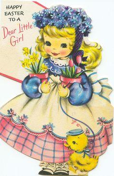 little girls, easter card, dreams, vintag card, vintag easter, ducks, greeting cards, garlands, vintage cards