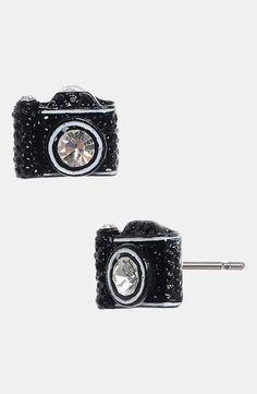 So cute! Betsey Johnson camera earrings.