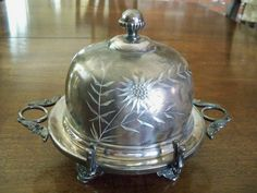 3 PC Barbour Bros Co Silver Plate 89 Quadruple Dome Covered Footed Butter Dish.